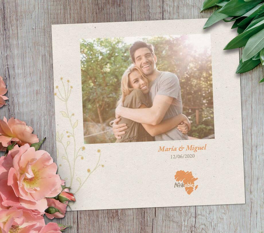 Tarjeta regalo boda solidaria con foto - modelo clásico