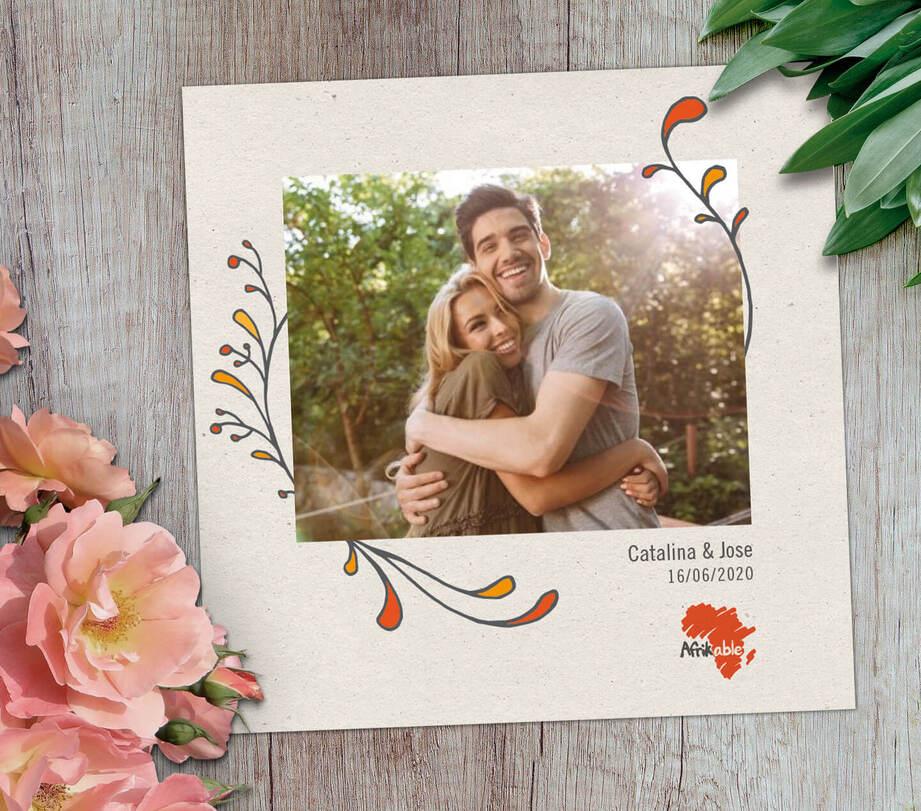 Tarjeta regalo boda solidaria con foto - modelo moderno
