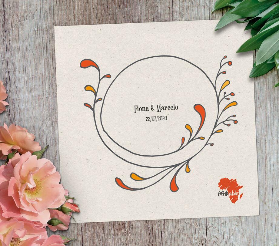 Tarjeta regalo boda solidaria con nombre - modelo moderno