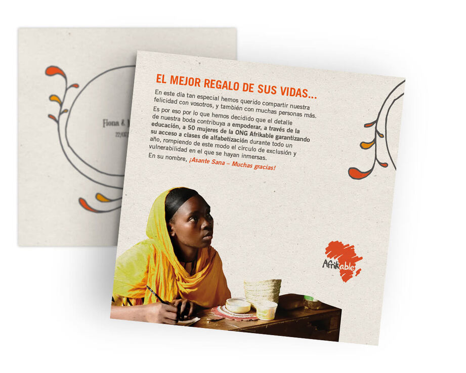 Tarjeta regalo de boda solidaria - clases de alfabetización para 50 mujeres