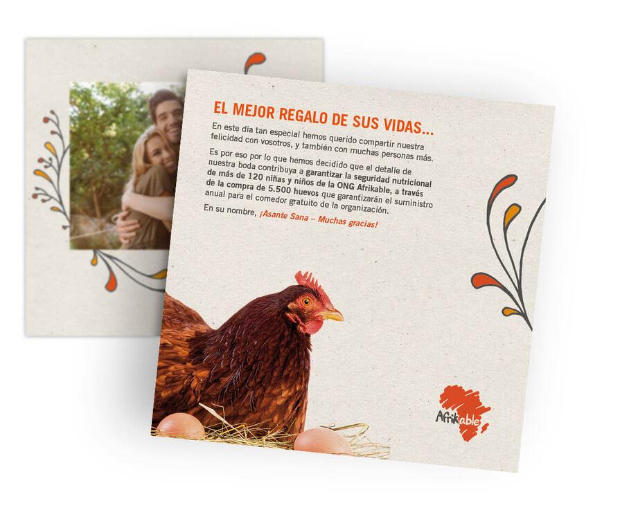 Tarjeta regalo de boda solidaria - 5.500 huevos para comedor infantil