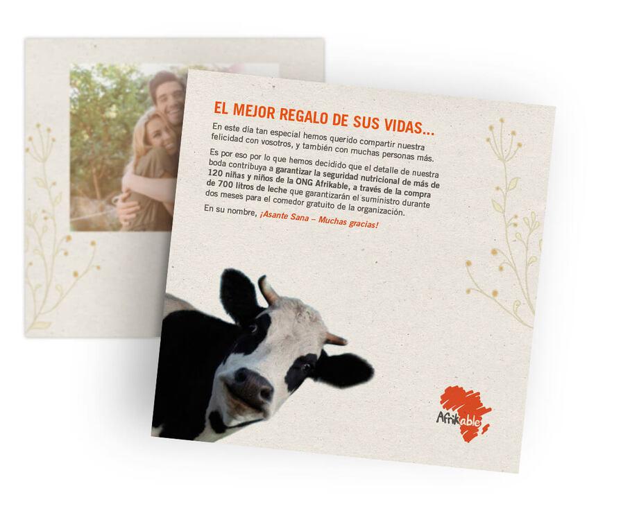 Tarjeta regalo de boda solidaria - 700 litros de leche para comedor infantil