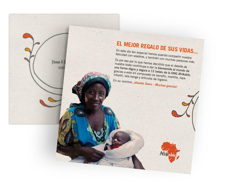 Tarjeta regalo de boda solidaria - kit de bienvenida para 12 bebés